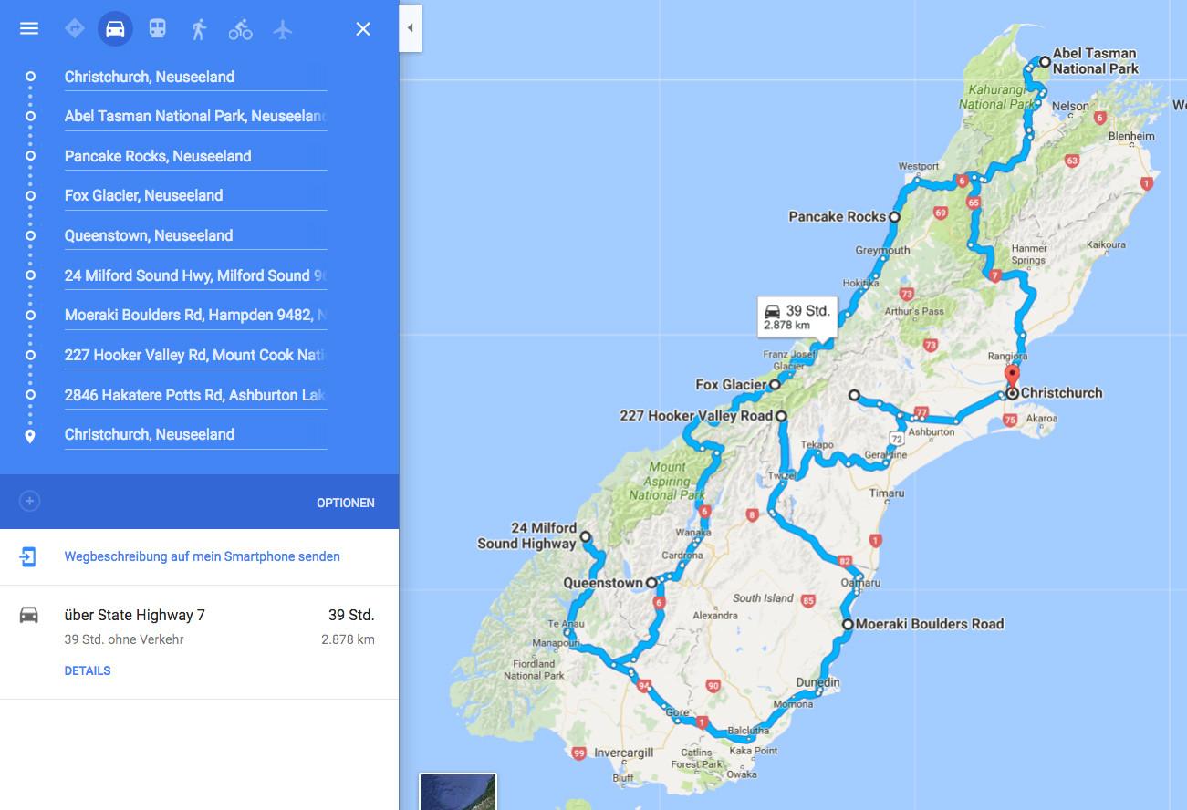Route Neuseeland