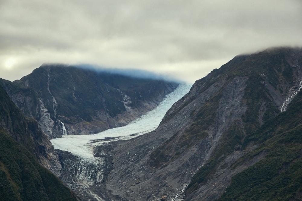 Fox Glacier, Fox Gletscher, Luftaufnahme, Gletscher, Foto, Gletscherschrumpfen, Eis, Gletschertour, Tour, Fox, Hubschraubertour, Heli Hike, bewölkt, schlechtes Wetter, nebelig